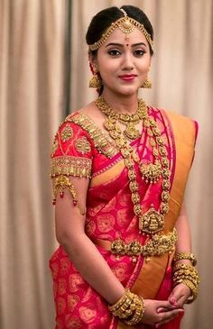 Stunning South Indian Bride with Traditional Temple Jewelry