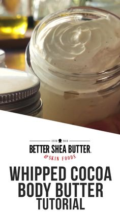 DIY Whipped Cocoa Body Butter Kit + Tutorial - This kit contains all of the ingredients and materials needed to make Whipped Cocoa Body Butter. Homemade Body Butter, Sugar Scrub Homemade, Whipped Body Butter, Shea Butter, Cocoa Butter, Peanut Butter, Lotion Recipe, Diy Lotion, Homemade Beauty Products