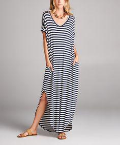 Navy Stripe Side-Slit Maxi Dress #zulily #zulilyfinds