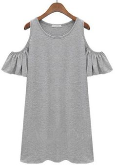 Grey Plain Short Sleeve Cotton Blend Shift Dress