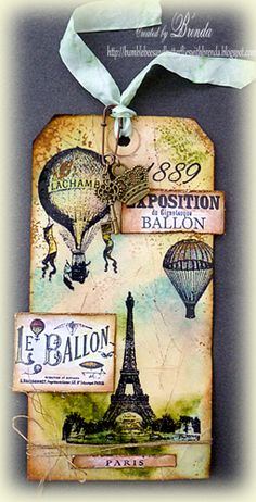 Tag: old style glamour using artistic outpost stamps. Paris, Eiffel Tower, Hot air balloon, ribbon