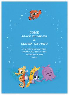 """""""Nemo and Friends"""" by Paperless Post. Online Finding Nemo invitations for kids' birthdays with easy-to-use design tools and RSVP tracking. View other Disney invitations on paperlesspost.com/disney."""