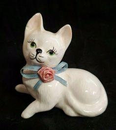 Hand Painted Finished Ceramic Bisque Decoration Meow Eyes Open Sitting Bobble Head Kitty Cat 2 Piece