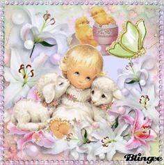 My Easter Art    Little Lambs and Easter Lilies  GIF