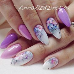 Easy Flowers Nail Art Designs 100 pictures Our Nail Diy Nails, Cute Nails, Pretty Nails, Diy Manicure, Uñas Jamberry, Uñas One Stroke, Water Color Nails, Nails Only, Floral Nail Art