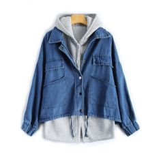 Hooded Waistcoat With Jean Jacket ($28) ❤ liked on Polyvore featuring outerwear, vests, denim jacket, blue jean jacket, blue vest, hooded vest and blue denim jacket