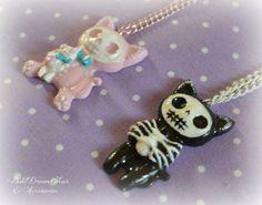 skeleton Kitties cat  Resin   Kawaii pastel by PastelDreamShoes