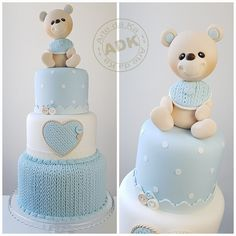 The video consists of 23 Christmas craft ideas. Baby Shower Sweets, Baby Shower Cakes For Boys, Baby Boy Cakes, Fondant Cakes, Cupcake Cakes, Christening Cake Boy, Teddy Bear Cakes, Elegant Baby Shower, Baby Boy Birthday