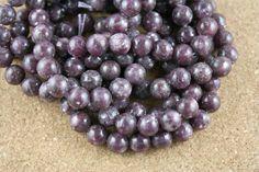 Leipidolite Round Beads  Smooth Purple Stone Beads 16 by ABOSBeads