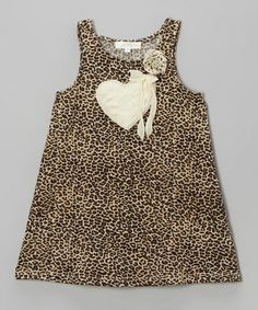 Take a look at this Taupe Leopard Heart Shift Dress - Infant, Toddler & Girls by Baby Sara on #zulily today!