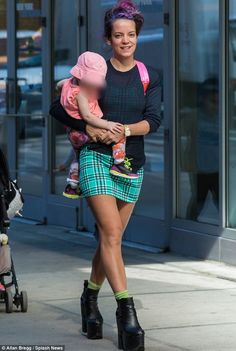 Make-up free: The Smile singer showed off her long legs in a tight mini-dress but opted to. Lilly Allen, Who Is The Father, Family Outing, Queen, Christina Hendricks, Old Hollywood, New Day, Style Icons, Beautiful People