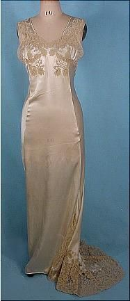 1930s rare trained ivory silk satin nightgown with lace trim..