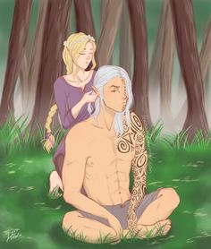 In queen of shadows Rowan cut off his hair and Aelin was sort of upset about it and said that she had wanted to braid his hair. So I sort of pictured maybe in the future he lets his grow out for the sole purpose of letting her braid it like she said...