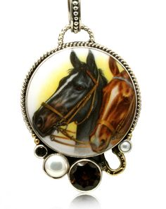 Caracol - Inspired Jewelry and Handbags - Nightfall and Dusk Horsehead Equestrian Necklace, $344.00 (http://www.caracolsilver.com/nightfall-and-dusk-horsehead-equestrian-necklace/)