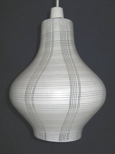 """Retro large glass """"teardrop"""" pendant lampshade (white with textured line pattern), c.1960s (SOLD) - www.vanishederas.com"""