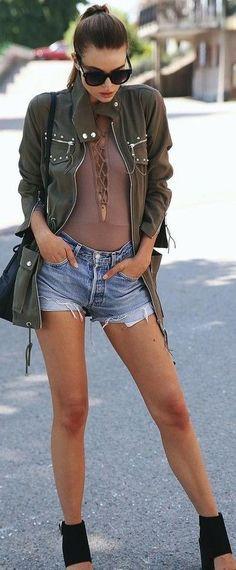 Khaki Jacket + Taupe Bodysuit + Cut Offs                                                                             Source