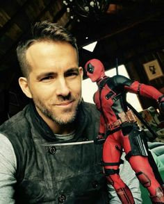 #Deadpool #Fan #Art. (Ryan Reynolds with his new action figure) (THE * 5 * STÅR * ÅWARD * OF: * AW YEAH, IT'S MAJOR ÅWESOMENESS!!!™)[THANK U 4 PINNING!!!<·><]<©>ÅÅÅ+(OB4E)