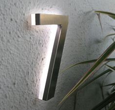 Luxello LED-illuminated house numbers  http://surrounding.com/Products/Luxello/Modern_LED_House_Number_5_Outdoor.asp Modern Lighting, Sign Lighting, Outdoor Lighting, Lighting Design, Cool Lighting, Led House Numbers, Illuminated House Numbers, House Front, Luz Led