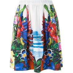 Dsquared2 tropical print skirt ($335) ❤ liked on Polyvore featuring skirts, multicolour, white skirt, high waisted a line skirt, short white skirt, cotton skirt and white pleated skirt
