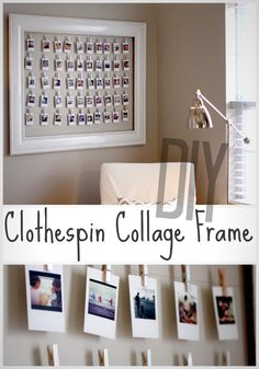 Clothespin Collage Fram