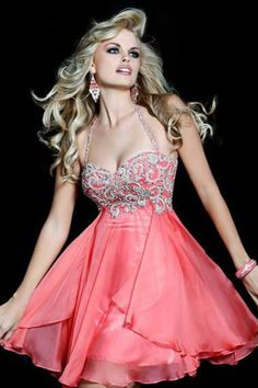 Red Homecoming Dresses Halter Chiffon
