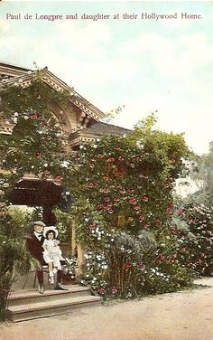 California ~ Paul de Longpre and daughter at their HOLLYWOOD Home