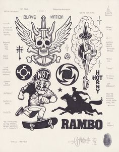 Rambo by Mike Giant, Doodle Drawings, Tattoo Drawings, Body Art Tattoos, Small Tattoos, Punk Tattoo, Sketch Tattoo, Tattoo Flash Sheet, Tattoo Flash Art, Rockstar Tattoo
