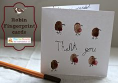 Fingerprint Thank you cards - Robins - Mum In The Madhouse- Mum In The Madhouse