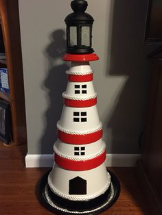 Clay terra cotta pot lighthouse.