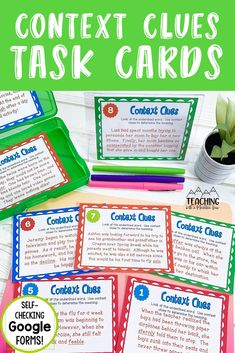 Help your students to read and determine the meaning of an underlined word with this set of differentiated context clues task cards for upper elementary.  Perfect for distance and at-home learning.  This activity includes printable and self-checking Google forms versions that integrate perfectly with google classroom for digital classrooms. Comprehension Strategies, Reading Strategies, Reading Comprehension, Reading Task Cards, Reading Response, Nouns And Verbs, Third Grade Reading, Authors Purpose, Common Core Reading