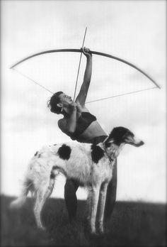 1930's woman archer with borzoi. My future.