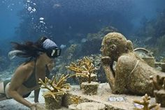 Cancun's Underwater Muesum:  the sculptures sit on the sea floor in just 28 feet of water, so they are visible to snorkelers as well as divers. A shallower portion is set off just for snorkelers.