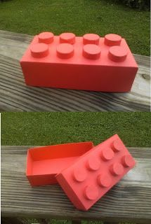 Lego Box.  Cool idea for a boys b-day favor, or for Valentines day treats!