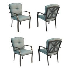 from Lowes, Garden Treasures�Set of 4 Cascade Creek Black Steel Stackable Patio Dining Chairs with Solid Blue Cushions
