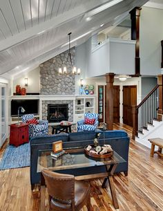 Living Photos Sloped Ceilings Design Ideas, Pictures, Remodel, and Decor