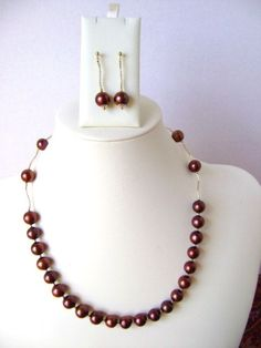 pearl necklace set. with chocolat brown freshwater pearl . pearl bead necklace.14k solid gold jewelry. necklace earring set.