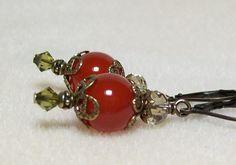 Carnelian Earrings. Red Carnelian and Bronze. by VickieJoesJewels