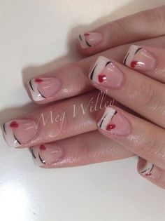 Best Valentine Nail Art Designs - Page 57 of 85 - NailCuco Love Nails, Pretty Nails, Fun Nails, Fingernail Designs, Nail Art Designs, Nails Design, French Nails, Nail Deco, Valentine Nail Art