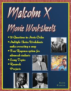 Newly updated with essay prompts and research projects in addition to 70 questions in movie order to guide students through Spike Lee's masterpiece: Malcolm X. These Malcolm X movie worksheets will help students master the film that brings the civil rights icon to life.