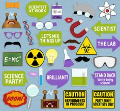 35 Science Party Photo Booth Props Scientist by YouGrewPrintables