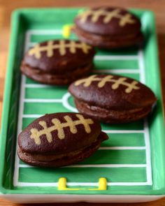 Chocolate Football Whoopie Pies: A Great Super Bowl Dessert #superbowl #deflategate #bakingbites