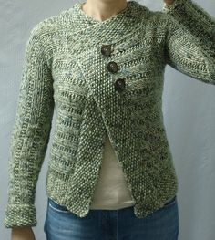 Diagonal Seed Stitch Side-to-Side Cardigan Knit Pattern by Grace Alexander