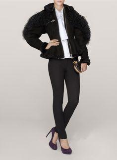 Alexander McQueenSuede and fur peplum jacket