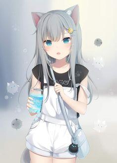"Kemonomimi or ""animal ears"" is where humanoid characters possess animal like features. Anime Girl Neko, Anime Chibi, Art Anime Fille, Lolis Neko, Cute Anime Cat, Girls Anime, Anime Girl Cute, Beautiful Anime Girl, Chica Anime Manga"