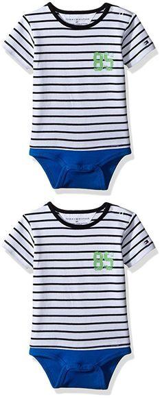 Tommy Hilfiger Baby Boys' Short Sleeve Striped Tommy Bodysuit, Electric Blue, 3 Months