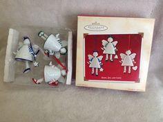 3 Porcelain lil GIRL ANGELS heart charms HALLMARK CHRISTMAS ORNAMENT 2002 wbox