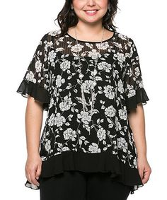 This Black & White Floral Flutter-Trim Top - Plus by Essential Collection is perfect! #zulilyfinds