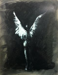 Totally loving this....I think a dark background with simple white wings and a little nudity....Is this easy to recreate? With details of party on the other side...maybe with graphic staircase???
