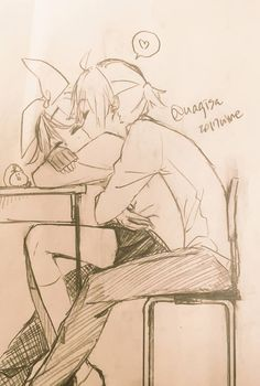 Sense it's just pencil I had to look to see what was happening and then I realized how cute Rin & Len were!