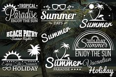 8 Summer Retro Labels by Arys Design on @creativemarket